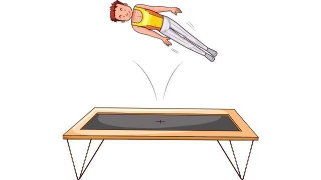 Saut acrobatique en trampoline
