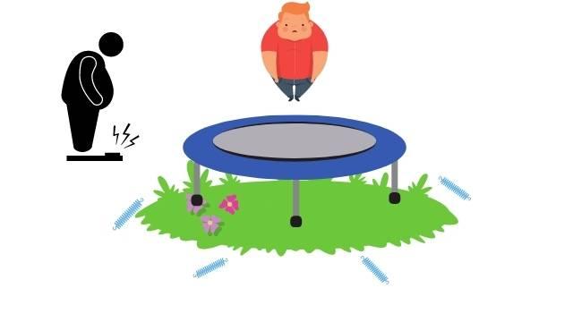 Un sauteur sur trampoline en surpoids