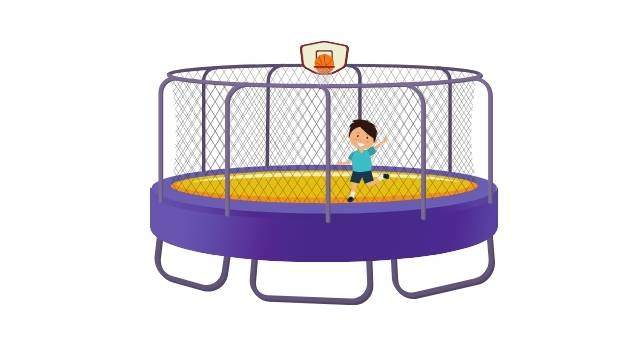 Trampoline avec un panier de basket